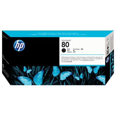 Hp printkop: 80 zwarte DesignJet printkop en printkopreiniger