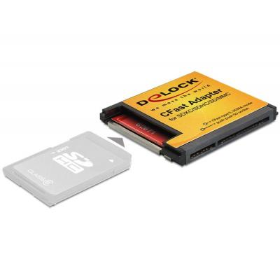 Delock SIM/flash memory card adapter: CFast Adapter for SDXC / SDHC / SD Memory Cards - Zwart