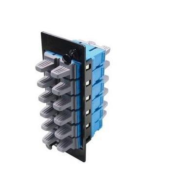 Molex fiber optic adapter: LC Quad 12 Fiber MM OM3/OM4 Adapter Plate, Aqua - Zwart, Blauw