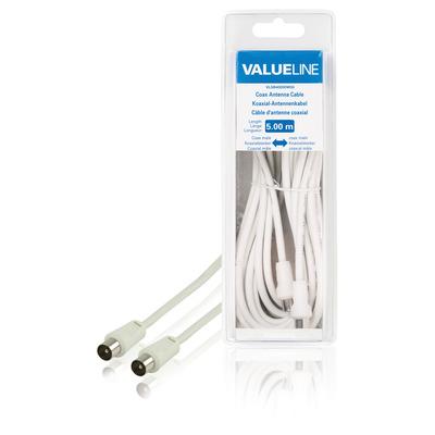 Valueline Coax antennekabel, coax mannelijk - coax mannelijk, 5.00 m, wit Coax kabel