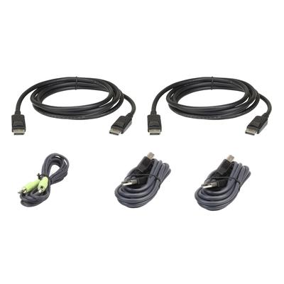 Aten 1.8M USB DisplayPort Dubbel Beeldscherm Veiligepakket KVM kabel - Zwart