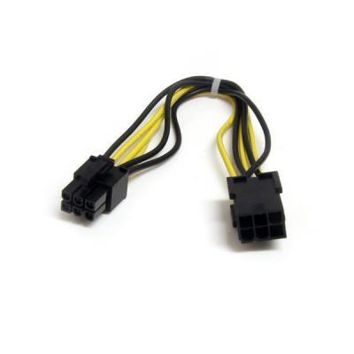 Startech.com electriciteitssnoer: 20cm 6-pins PCI Epress Verlengkabel Voeding - Zwart, Geel