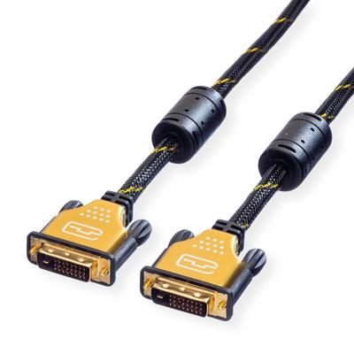 ROLINE GOLD Monitor kabel DVI, M/M, (24+1) dual link 5,0m DVI kabel  - Zwart,Goud
