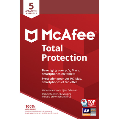 McAfee Total Protection, 5 Devices (Dutch / French) Databeveiligingssoftware