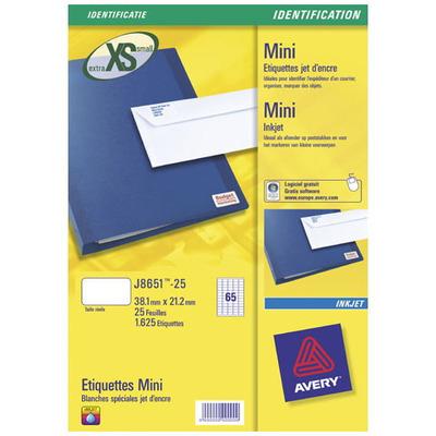 Avery etiket: Mini-etiketten, Inkjet, Wit, 1625pcs.