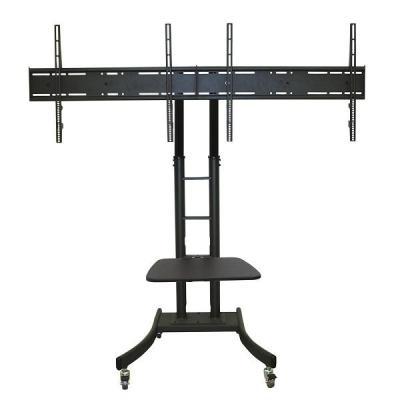 "Newstar TV standaard: Mobile Dual TV Floor Stand for two 32""-70"" Screens, Height Adjustable - Black - Zwart"
