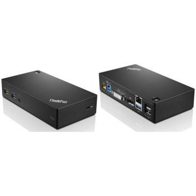 Lenovo docking station: ThinkPad USB 3.0 Pro Dock - Zwart