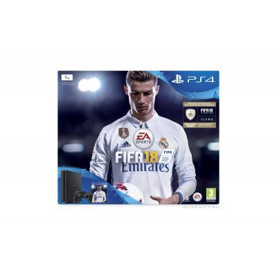 Sony spelcomputer: PlayStation 4, Console (Black) + 1 TB + FIFA 18  PS4