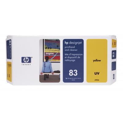 Hp printkop: 83 gele printkop en printkopreiniger, UV - Geel