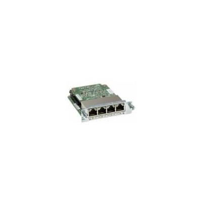 Cisco netwerkkaart: 4-port Gigabit EtherSwitch 10/100/1000BASE-TX autosensing EHWIC - Zwart, Groen, Roestvrijstaal