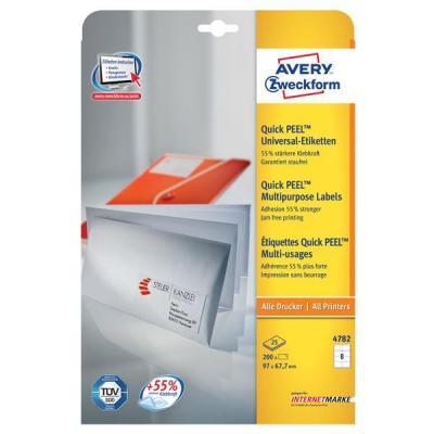 Avery etiket: Universele Etiketten, wit, 97,0 x 67,7 mm, permanent klevend