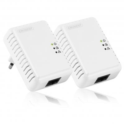 Eminent netwerkkaart: Mini Powerline Adapter 500Mbps Starter Kit - Wit