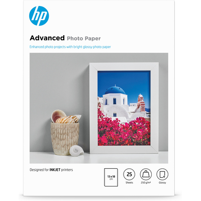 HP Advanced Photo Paper, glanzend, 25 vel, 13 x 18 cm randloos fotopapier