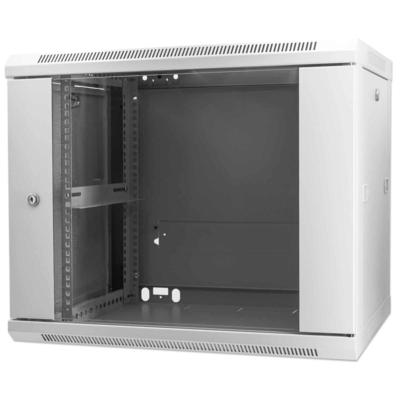 """Intellinet 19"""" Wallmount Cabinet, 9U, 500 (h) x 600 (w) x 450 (d) mm, Max 60kg, Assembled, Grey Rack - Grijs"""