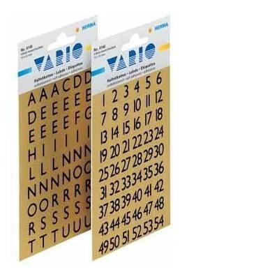 Herma sticker: Letters 13x12mm A-Z gold foil black 4 sheets