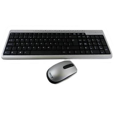 Acer toetsenbord: Keyboard Kit LITE-ON SK-9660 RF2.4/A1 105K Silver Ukrainian w/Mouse - Zwart, Zilver, QWERTY