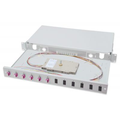 Assmann electronic fiber optic adapter: Professional Fiber Optic Sliding Splice Box, 1U, Equipped, 6x LC, OM4