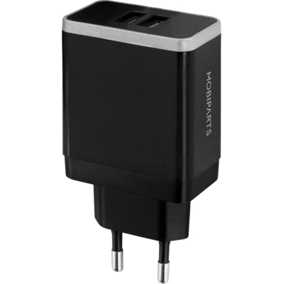 Mobiparts Wall Charger Dual USB 4.8A Black Oplader - Zwart