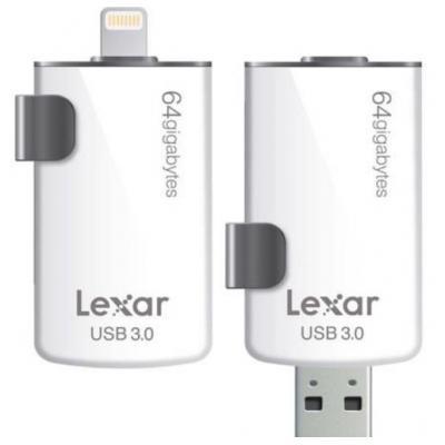 Lexar USB flash drive: 64GB, USB 3.0/Lightning - Zwart, Wit