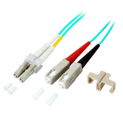 EFB Elektronik Duplex Jumper LC/SC 50/125µ, 10m, OM3, LSZH, aqua Fiber optic kabel - Blauw