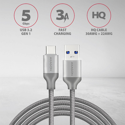 Axagon USB-C USB-A 3.2 Gen 1 cable, 1 m USB kabel - Grijs