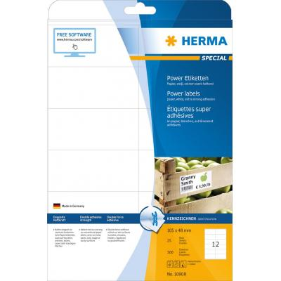 Terratec etiket: Labels A4 105x48 mm white extra strong adhesion paper matt 300 pcs. - Wit