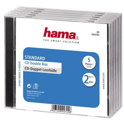 Hama CD Double Jewel Case Standard, Pack 5 - Transparant
