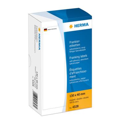 Herma etiket: Franking labels double 130x40 mm 500 pcs. - Wit
