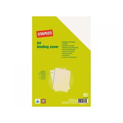 Staples binding cover: Schutblad SPLS A4 leatherbrd ivoor/pk100