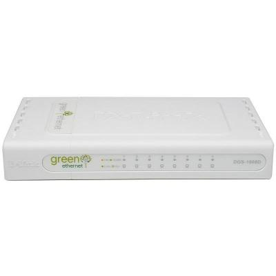 D-Link DGS-1008D/E - 8-Port, Gigabit Ethernet, 16 Gbit/s Switch - Wit