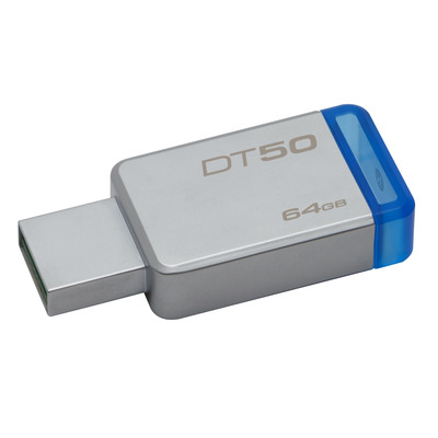 Kingston technology USB flash drive: DataTraveler 50 64GB - Blauw, Zilver