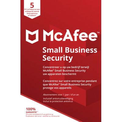 McAfee Small Business Security, 5 Devices (Dutch / French) Databeveiligingssoftware