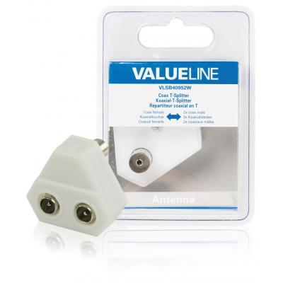 Valueline kabel splitter of combiner: Coax T-Splitter, coax vrouwelijk - 2x coax mannelijk, wit
