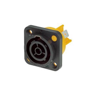 Neutrik elektrische fitting koppelaar: Appliance outlet connector, 1/4'' flat tab terminals - Zwart, Geel