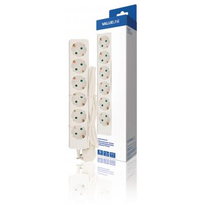 Valueline power extrention: Extension Socket 6-Way 1.50 m White - Protective Contact - Wit