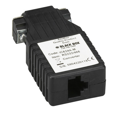 Black Box RS-232 to RS-485, (DB9 M - RJ-45), 115.2 kbps Seriele converter/repeator/isolator - Zwart