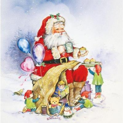 Herma sticker: Window decoration Santa Claus and family, 30x30 cm - Multi kleuren