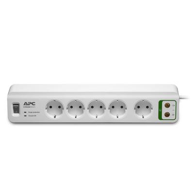 APC Stekkerdoos met overspanningsbeveiliging 5x stopcontact + Coax Surge protector - Wit