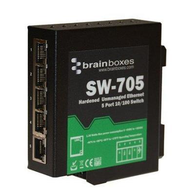 Brainboxes 5 x 10/100 Fast Ethernet, Din rail mounted, 5V - 30V DC, Black Switch - Zwart