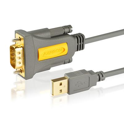 Axagon ADS-1PQ USB - serial HQ adapter, FTDI chip, 1.5 m Seriele kabel - Grijs,Geel