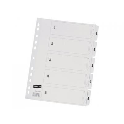 Staples schutkaart: Tabblad SPLS A4 11r 1-5 karton wit/set 5