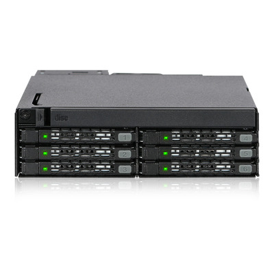 "Icy Dock 6x2.5"", 12 Gbit/s, 146x154.2x41.3mm, 780g, Black Drive bay - Zwart"