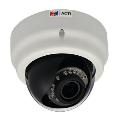 Acti beveiligingscamera: 2MP Indoor Dome with D/N, Adaptive IR, Basic WDR, SLLS, Vari-focal lens - Zwart, Wit