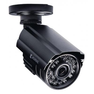"König video toezicht kit: DVR, 500 GB, H.264, 4x BNC, 30fps, RJ45, HDMI, VGA, 12V, 1x SATA, 1/4"" CMOS, 24x LED"