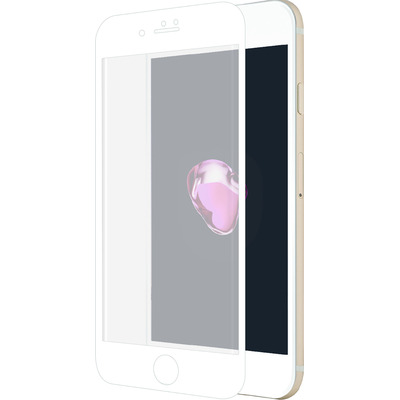 Azuri Curved Tempered Glass RINOX ARMOR - white frame - voor iPhone 7 Screen protector - Transparant, Wit