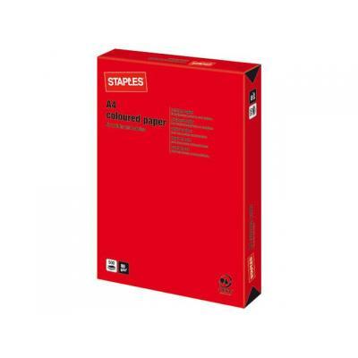 Staples fotopapier: Papier SPLS A4 80g felrood/pak 500v