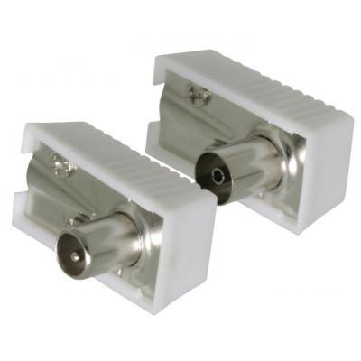 Valueline coaxconnector: Coax connector coax male gehoekt + coax female gehoekt 2 st wit