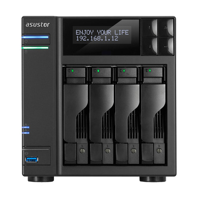 Asustor Intel Celeron J3455 (1.5 GHz), 8GB SO-DIMM DDR3L, 40 TB max, USB 3.0, LCD, Ethernet, ADM 2.7 NAS - Zwart