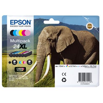 Epson Elephant Multipack 6-colours 24XL Claria Photo HD Ink Inktcartridge - Zwart,Cyaan,Light .....