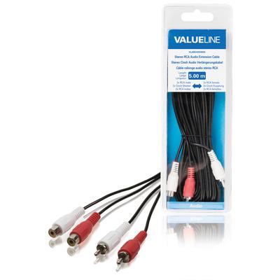 Valueline Stereo RCA audio verlengkabel 2x RCA mannelijk - 2x RCA vrouwelijk 5.00 m zwart - Zwart, Rood, Wit